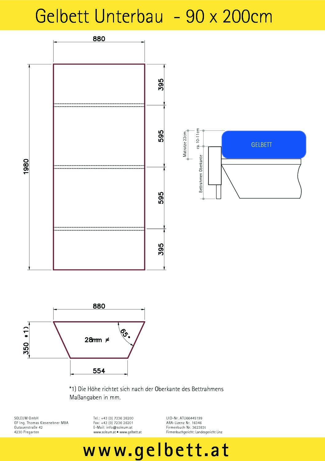 Gelbett Unterbau Einzelbett